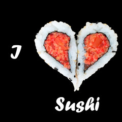 I love sushi concept with two pieces of sushi forming heart shap