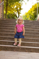 Portrait of a child on the stairs