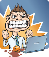 Angry Businessman Pouring Cup of Coffee on Laptop Computer