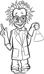 whiteboard drawing - cartoon standing mad scientist