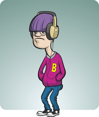 cartoon gloomy teenager with headphones