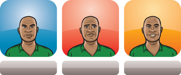 african american man face three expressions