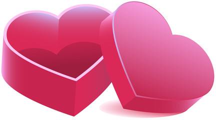 Pink heart shaped open box