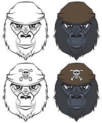 Set gorilla head tattoo