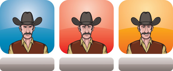 cowboy man face three expressions
