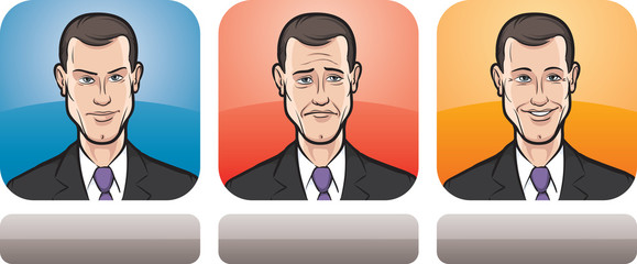 young businessman face three expressions