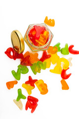 jelly candies on isolated background