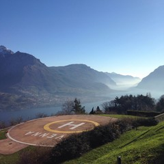 heliport over lake como