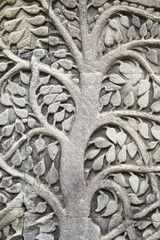 Angkor Wat Bodhi Tree Close-Up Relief