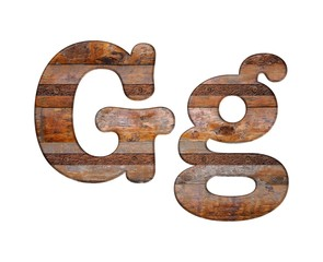Letter G wooden and rusty metal.