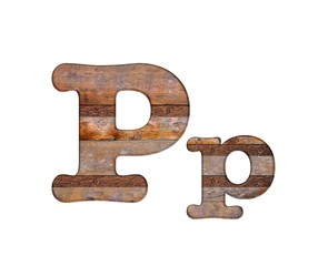 Letter P wooden and rusty metal.