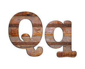 Letter Q wooden and rusty metal.
