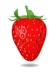 Red strawberry isolated on white background