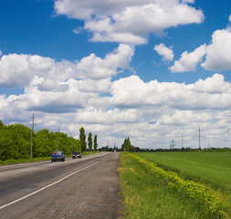Fields, road and Sky