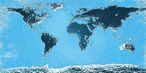 World map in blue style