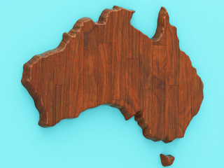 Map of Australia on a blue background