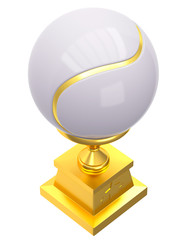 Award tennis ball trophy cup