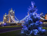 Tower Bridge and Christmas Tree in London - 75053526