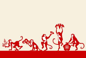 サルと松竹梅と南天