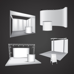 Set of blank exhibition display