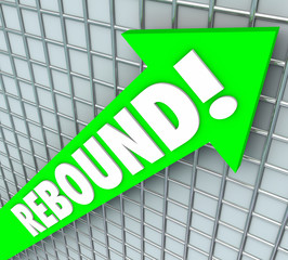 Rebound Word Green 3d Arrow Bounce Back Rising Improvement