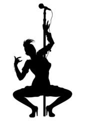 Punk musician girl striptease silhouette