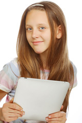 Girl working with  portable tablet computer