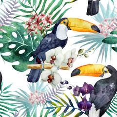 тукан,орхидея,паттерн,акварель