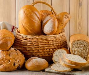 Different fresh bread in basket