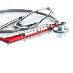 Stethoscope with red medical clipboard