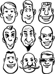 whiteboard drawing - cartoon men faces