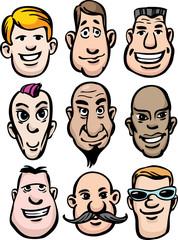 Cartoon men faces