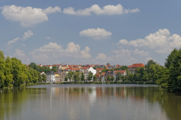 Altenburg old city, picturesque view from the lake, Germany