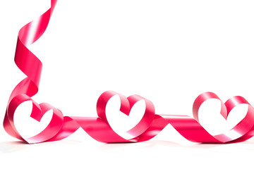 Valentine Heart. Elegant Red satin gift Ribbon.