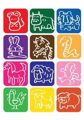 Chinese Zodiac Vector Icon Set
