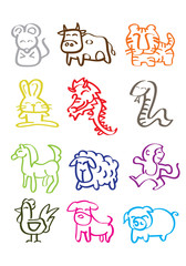 Colorful Minimalist Doodles of Chinese Zodiac Animals