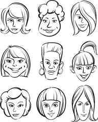whiteboard drawing - funny women faces
