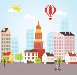 Seamless Vector Sunny Town Landscape Background