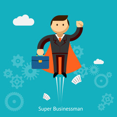 Flying Super Businessman Cartoon