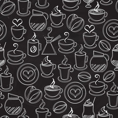 Coffee seamless background vector pattern