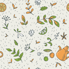 black tea seamless pattern