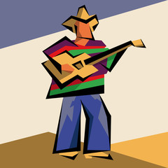 Abstract musician in a cowboy hat with a guitar