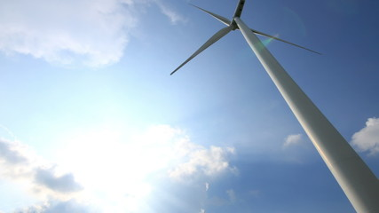time lapse wind turbines generating electricity.