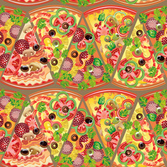 Seamless pattern pizza