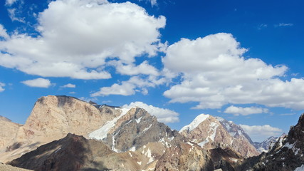 Vertices of the clouds. Panorama. TimeLapse. Pamir, Tajikistan.