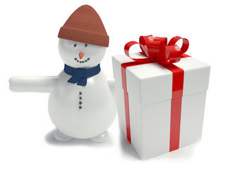 snowman. Gift box white