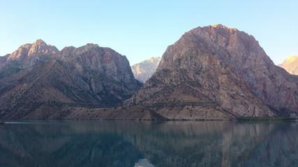 Dawn in mountains. Lake. Time Lapse. Tajikistan, IskanderKul