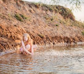 happy girl in river