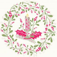Christmas mistletoe wreath with candle