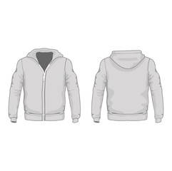 Men's hoodie shirts template. Front and back views. Vector